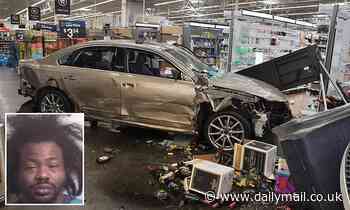 Fired Walmart employee, 32, is arrested after crashing his car through front of the store
