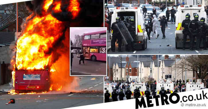 Bus hijacked and set on fire as violence breaks out for sixth night in Belfast