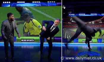 Micah Richards CARTWHEELS across the CBS studio as he and Jamie Carragher cause chaos