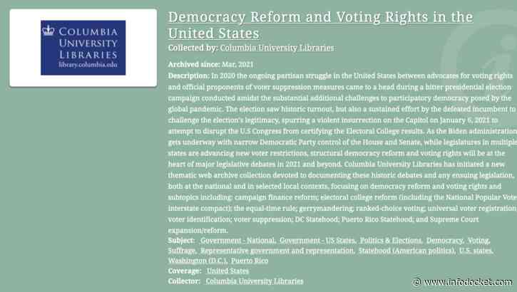"Columbia University Libraries Launches ""Democracy Reform and Voting Rights in the United States Web Archive"""