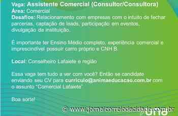 Vaga para assistente comercial em Conselheiro Lafaiete   Correio Online - Jornal Correio da Cidade
