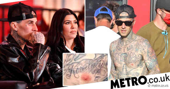 Travis Barker gets girlfriend Kourtney Kardashian's name tattooed on his chest, if you want to know how serious things are getting