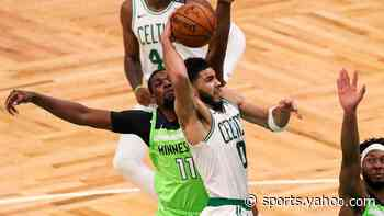 Jayson Tatum reacts to joining Larry Bird in Celtics record book after career game