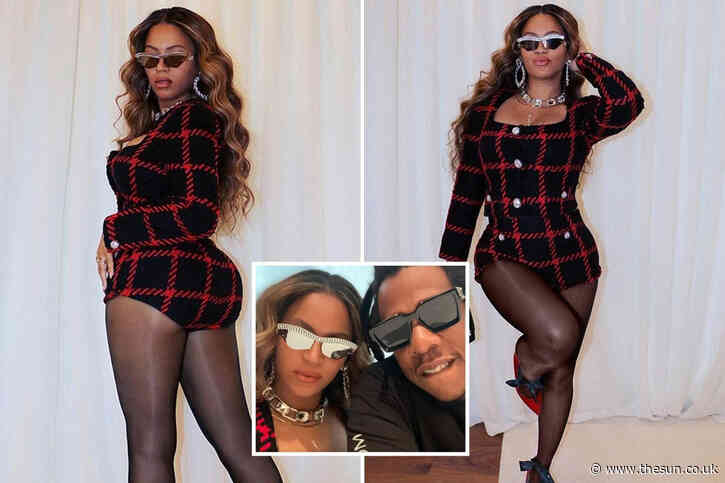 Beyonce flashes her figure in cheeky tweed suit with tiny hotpants and skyscraper heels for 13th anniversary with Jay-Z