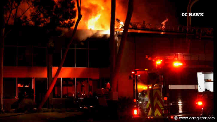 2-alarm fire rages at Irvine aerospace company
