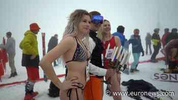Bikini skiing event marks end of the winter season at Sochi. - Euronews