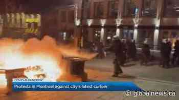 Hundreds defy curfew in Montreal in destructive protest of COVID-19 measures