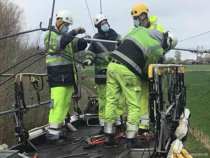 Ten vroegste woensdagavond weer treinverkeer tussen Poperinge en Menen door zwaar beschadigde bovenleiding
