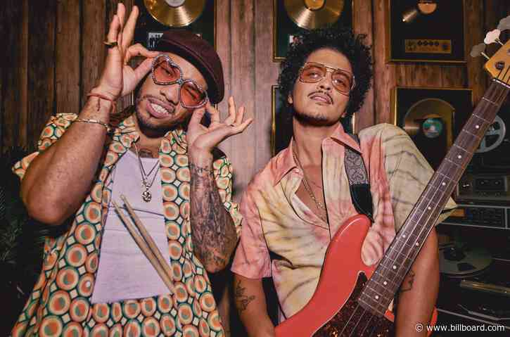Bruno Mars & Anderson .Paak Are 'Poppin' Bottles' After Silk Sonic Hits No. 1 on Hot 100