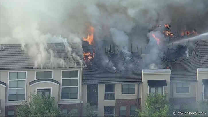 Firefighters Battle Raging Fire At Addison Apartment Complex