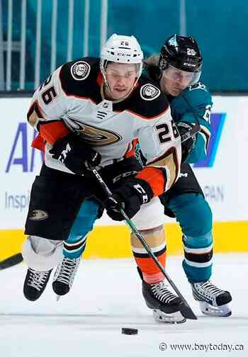 Stolarz has 45 saves as Ducks beat Sharks 4-0