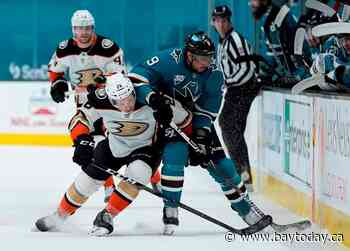 Stolarz has 46 saves as Ducks beat Sharks 4-0
