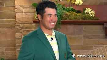 The Masters 2021: Dustin Johnson presents winner Hideki Matsuyama his Green Jacket