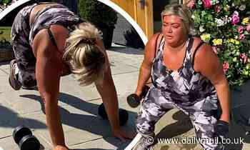 Gemma Collins works up a sweat in home workout with her personal trainer after 3st weight loss