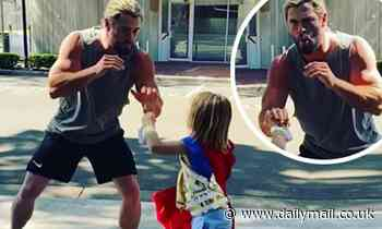 Chris Hemsworth spars with his son, 7, on set of Thor: Love and Thunder
