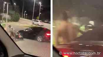 Vídeo flagra confusão na Ponte Hercílio Luz após carro furar bloqueio e atingir motociclista em Flor - NSC Total