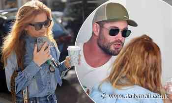Isla Fisher wears double denim for Sydney coffee trip with Chris Hemsworth - Daily Mail