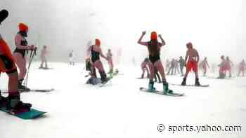Skiers brave Sochi's slopes in bikinis and trunks - Yahoo Sports