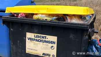 Gelber Container: Am Tonberg in Marwitz wird der Plastikmüll nicht abgeholt - moz.de