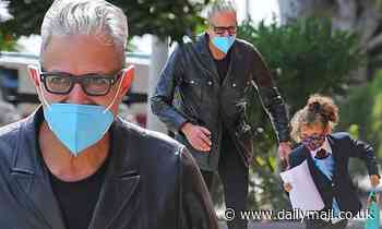 Jeff Goldblum, 68, races mini-me son Charlie, five, up street in Los Angeles after finishing filming