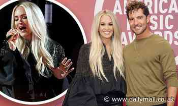 Carrie Underwood rehearses her duet Tears Of Gold with David Bisbal for Latin American Music Awards