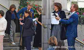 Helen McCrory laughs as Damian Lewis serenades their recently married friends months before she died
