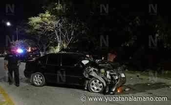 Ebrio genera fuerte choque en la carretera Ticul-Oxktuzcab - Yucatán a la mano