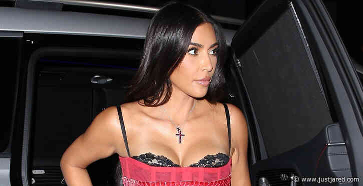 Kim Kardashian Rocks Leather Pants for Night Out with Friends