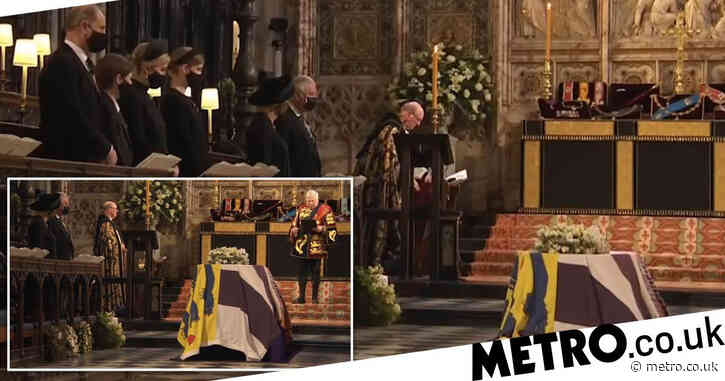 Moment Philip's coffin is lowered into Royal Vault below St George's Chapel