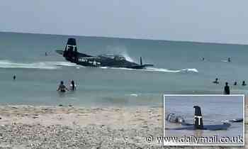 WWII-era plane makes an emergency landing just yards from swimmers on busy Florida beach