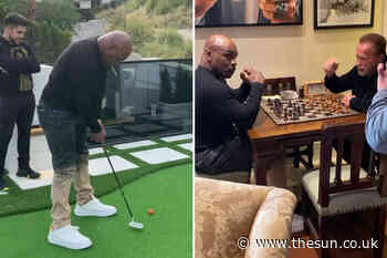 Mike Tyson heads to Arnold Schwarzenegger's mansion for a game of chess and golf along with UFC icon Henry... - The Sun