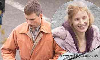 Jessica Chastain and Eddie Redmayne bundle up beneath brightly coloured coats on The Good Nurse set - Daily Mail