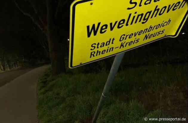 POL-NE: Netter Versuch - Ortseingangsschild vor Blitzer abmontiert