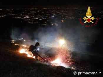Incendio boschivo sul Cornizzolo a Canzo SIRENE DI NOTTE - Prima Como