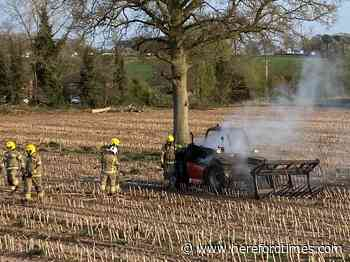 Tractor fire in Herefordshire