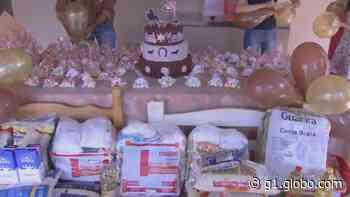Comerciante comemora aniversário arrecadando alimentos para doação em Palmital - G1