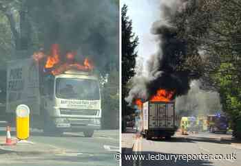 Fire destroys Bartonsham Farm Dairies lorry in Hereford
