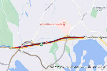 Traffic backs up on Highway 1 westbound in View Royal after crash – Sooke News Mirror - Sooke News Mirror