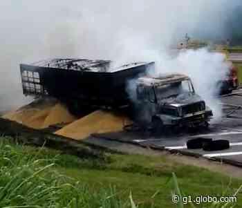 Carreta pega fogo na Rodovia Castello Branco entre Itu e Mairinque - G1