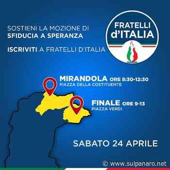 Fratelli d'Italia, raccolta firme a Mirandola e Finale Emilia per la sfiducia al ministro Speranza - SulPanaro