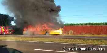 PR: Ônibus pega fogo na BR-277 em Santa Terezinha de Itaipu após ser assaltado - REVISTA DO ÔNIBUS