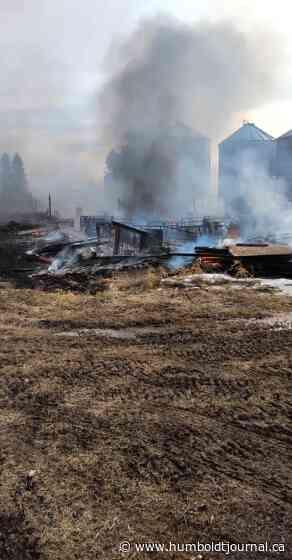 Nipawin crews battle barn fire north west of Love - Humboldt Journal