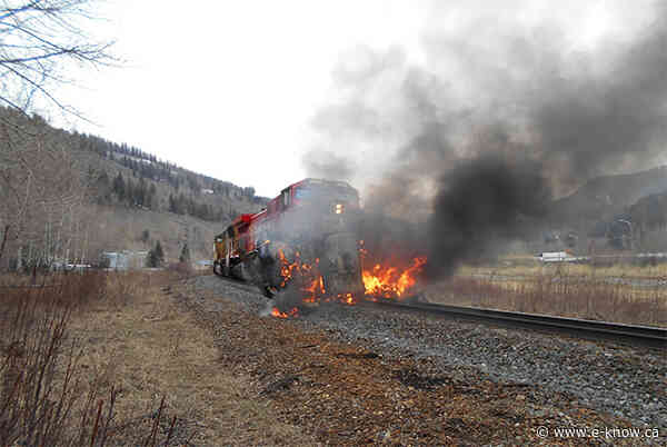 No injuries in fiery train and semi crash