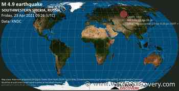 Quake info: Moderate mag. 4.9 earthquake - 96 km west of Tomsk, Tomsk Oblast, Russia, on 23 Apr 4:26 pm (GMT +7) - VolcanoDiscovery