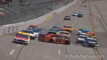 Joey Logano's car goes airborne in wild crash at Talladega