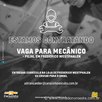 Carazinho Veículos contrata mecânico para filial em Frederico Westphalen - Jornal Folha do Noroeste