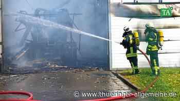 Lagerhalle in Breitenworbis fällt Großbrand zum Opfer - Thüringer Allgemeine