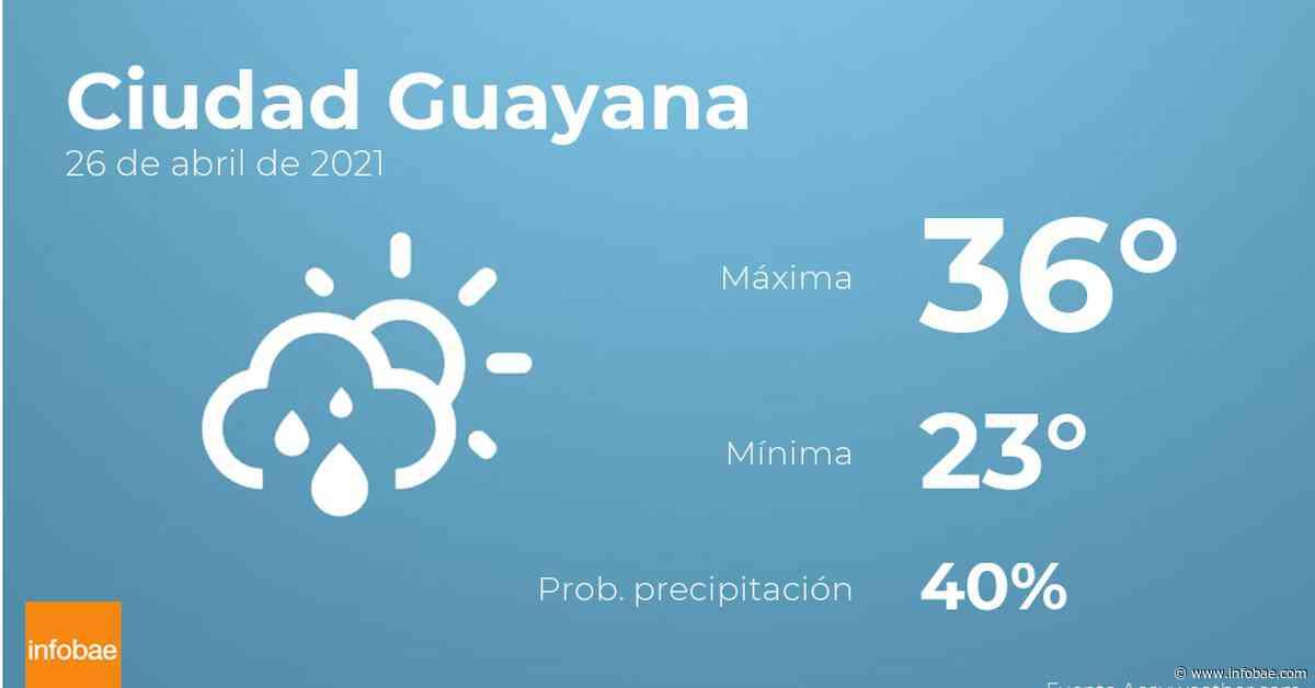 Previsión meteorológica: El tiempo hoy en Ciudad Guayana, 26 de abril - infobae