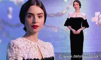 Lily Collins stuns in black-and-white lace gown as she visits Immersive Van Gogh Exhibit in Chicago - Daily Mail