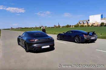 ¡Brutal! El Rimac C_Two le quita las pegatinas al Porsche Taycan Turbo S en este vídeo - Motorpasión